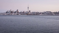 Auckland City Skyline sunset day to night timelapse New Zealand Stock Footage