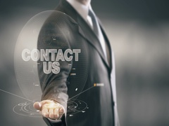Contact Us Businessman Holding in Hand New technologies Stock Footage