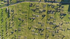 Aerial view over a cemetery. Stock Footage