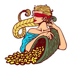Blindfolded goddess of fortune holding cornucopia horn of plenty full of gold Stock Illustration