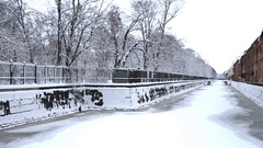 Bypass Canal in Kronstadt under ice Stock Footage