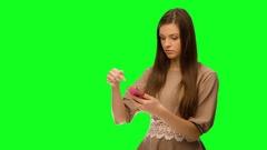 Girl using cellphone, phone broke Stock Footage