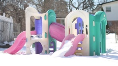 Backyard Park Winter Stock Footage