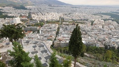 4K Greece Athens Athina Athen from Lycabettus Hill Europe Stock Footage
