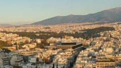 4K Skyline Greece Athens Athina Athen Acropolis Parthenon Acropolis Museum Stock Footage