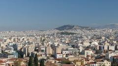 4K Skyline Greece Athens Athina Athen Acropolis Parthenon Lycabettus Hill Europe Stock Footage