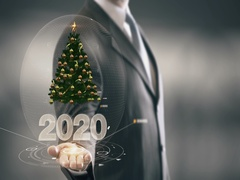 2020 Christmas tree Businessman Holding in Hand New technologies Stock Footage