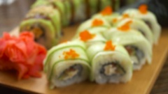 Fresh sushi on the table Stock Footage