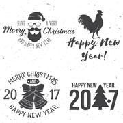 Set of Merry Christmas and Happy New Year 2017 typography design Stock Illustration
