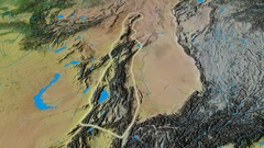 Revolution around Tian Shan mountain range - glowed. Topographic map Stock Footage
