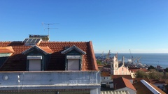 Lisbon City Top View Church And Typical Building Rooftop, Portugal Stock Footage