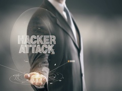 Hacker Attack Businessman Holding in Hand New technologies Stock Footage