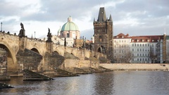 Charles Bridge and the Old Town from the Vlatva River, Prague Stock Footage