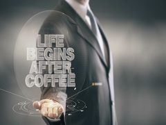 Life Begin After Coffee Businessman Holding in Hand New technologies Stock Footage
