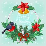 Christmas wreath of mistletoe and pine with bullfinches. Stock Illustration