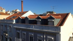 Lisbon Typical Building Rooftop Establishing Shot, Portugal Stock Footage
