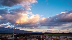 Beautiful sunset colored clouds. Timelapse Stock Footage