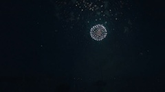 Beautiful fireworks under the river on background of black sky Stock Footage