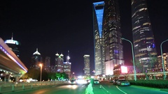 Night transportaion at Shanghai city,Shanghai lujiazui financial center Stock Footage