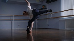 Talented dancer performs complex acrobatic movements of breakdance. Performances Stock Footage