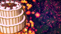 Happy Birthday cake. Loopable Abstract Background. Stock Footage