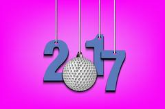 Golf ball and 2017 hanging on strings Stock Illustration