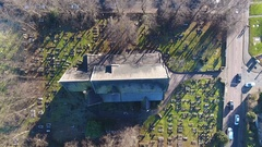 Static aerial view over a church. Stock Footage