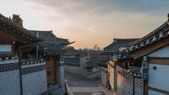Timelapse at Seoul Bukchon Hanok Village, Seoul, South Korea, 4K Time lapse Stock Footage
