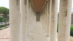 Impressive colonnade of fascist architecture . Italy Stock Footage