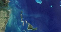 High-altitude overflight aerial of Trunk Reef, near Townsville, Australia Stock Footage