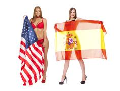 Young woman holding a large transparent Spanish flag Stock Photos