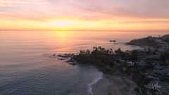 4K Laguna Beach Sunset (Flying North) Stock Footage