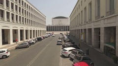Literature street, convention center on the bottom, built during the Fascism Stock Footage