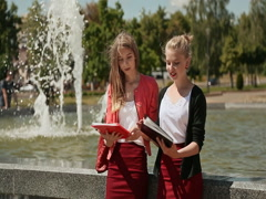 Young girl students of the college together in the park near the fountain. The Stock Footage