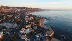 4K Flying South over Laguna Beach Stock Footage