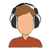 Music headphones device Stock Illustration