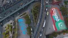 Rush Hour traffic above DUMBO, Brooklyn - 4k - aerial Stock Footage