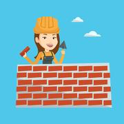 Bricklayer working with spatula and brick Stock Illustration