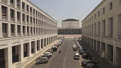 Rome Eur,  convention center on the bottom of literature street Stock Footage