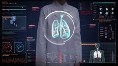 Female doctor touching Human lungs, Pulmonary Diagnostics. medical technology. Stock Footage