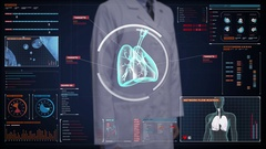 Doctor touching Human lungs, Pulmonary Diagnostics. medical technology. Stock Footage