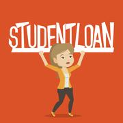 Woman holding sign of student loan Stock Illustration