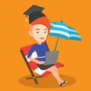 Graduate lying in chaise lounge with laptop Stock Illustration