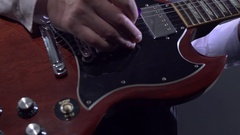 View of guitar player in a studio. Stock Footage
