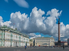 Palace Square In St Petersburg. Summer Timelapse Stock Footage