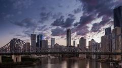 Brisbane City Skyline and Story Bridge Timelapse Stock Footage
