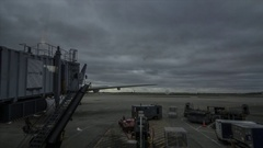 Chicago O'Hare International Airport Tarmac Time Lapse Rolling Clouds at Dusk Stock Footage