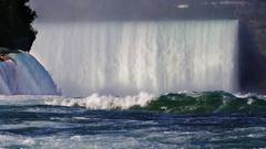 Incredible Niagara Falls. Water Wall, burlyazhaya River in the foreground. In Stock Footage