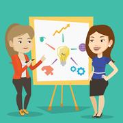 Two business women discussing project near board Stock Illustration