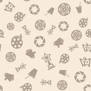 Cinema retro movies icons seamless pattern Piirros